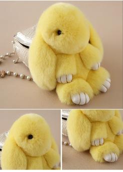 ... 18 cm Dengan Bulu Kelinci Imut Kelinci Mini Keychain Pasangan Mainan Tas Boneka Biru Muda