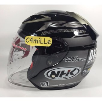 Harga HELM NHK R6 RALLY BLACK SILVER HALF FACE