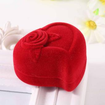 Velvet Lovely Heart Rose Stud Necklace Rings Flocking Storage Case Holder Box intl - intl