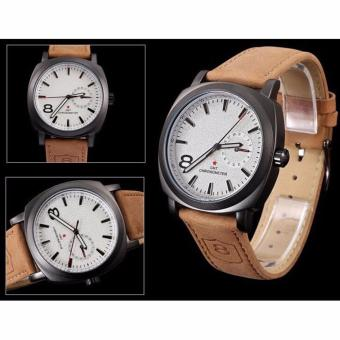Harga Vintage Classic Mens Waterproof Date Leather Strap Sport Quartz Army Watch Brown
