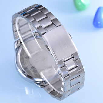 Cenozo Jam Tangan Pria Body Silver White Dial Silver Stainless Steel Band .