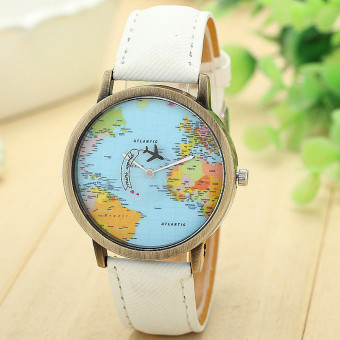 Harga New Global Travel By Plane Map Women Dress Watch Denim Fabric Band White