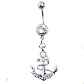 Harga Vogue Arrow Lady Belly Button Ring Pendant Crystal White
