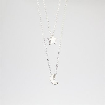 Cocotina Trendy Women s Moon Star Shape Pendant Charm Double Chain Necklace Silver .