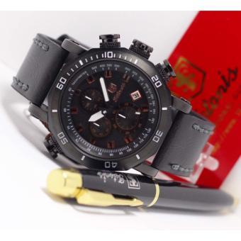 Tetonis Jam Tangan Pria - Chronograph Aktif - Leather Strap - TN 366 Black Ful Set ...