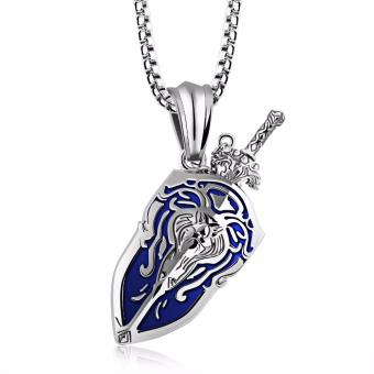 Harga Men's Pendant Necklace Sward Shield Pendants & Necklaces Fashion Stainless Steel Men Necklace Vintage Jewelry - intl