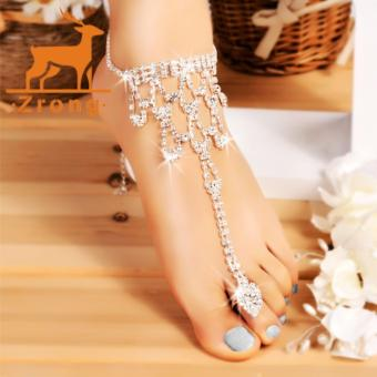 Harga Zrong Hot Fashion Women Crystal Barefoot Sandals Beach Wedding Foot Anklet (Silver)??? - intl