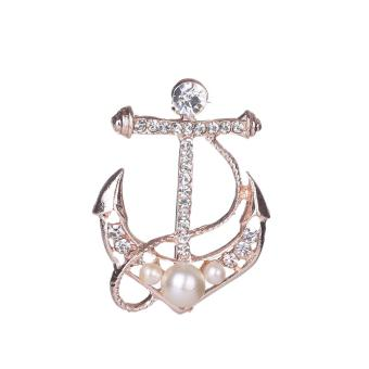 Harga Gold Plated Crystal Women Brooch Pins Casual Anchor Girl Brooch Pins - intl