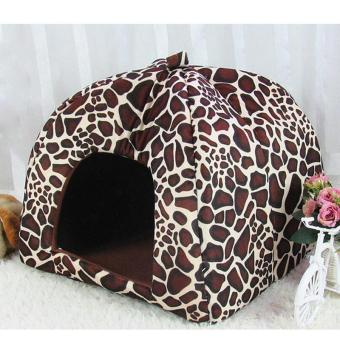 Harga Fleece Dogs Tent Bed Pet House Foldable Soft Warm Strawberry Cave Cat Dog Bed Cute Kennel Nest Dog ( S - Leopard ) 26X26X28CM - intl