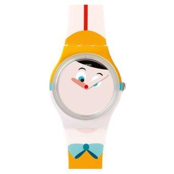 Swatch - Jam Tangan Wanita - Putih-Putih - Rubber Putih Oranye - GW176 Nasa