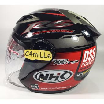 Harga HELM NHK R6 RALLY BLACK RED HALF FACE