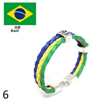 Harga World Cup FIFA Soccer Fans National Flag Color Mens Womens Leather Bracelet Brazil - intl