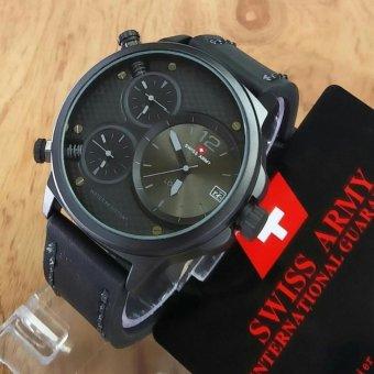 Swiss Army Triple Time original - Jam Tangan Pria - Leather Strap - SA 5133 .