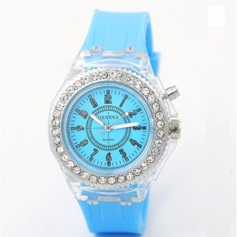 Harga Geneva Women Fashion Watch Ladies Rhinestone LED Quartz Watch Couple Luminous Wrist Watch - Light Blue - intl