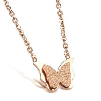 Harga Rose Gold Plated Necklaces for Women Stainless Steel Pendant Necklace Jewelry Women Butterfly Necklace -0 intl
