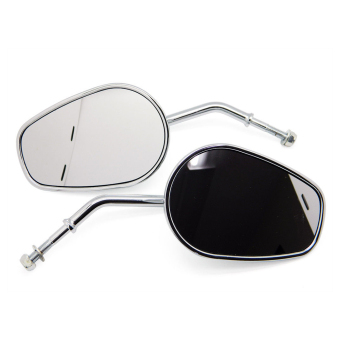 Sepasang Oval Aluminium berputar sepeda Motor spion belakang kaca sisi cermin dengan sekrup untuk Harley-