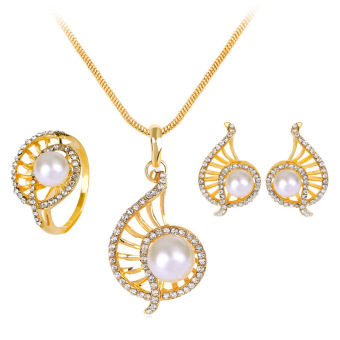 Harga Hequ Korean Exquisite Wedding Accessories Pearl Necklace Three-piece Suit Cheap Jewelry Set White - intl