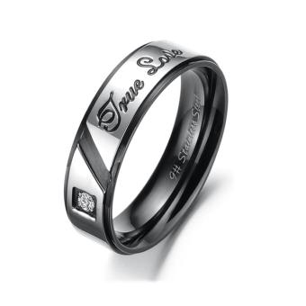 Harga Titanium Steel Couple Lover Ring Character with Ture Love Letters - intl