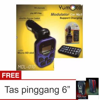 Harga yumoto Car FM Bluetooth Transmitter MP3 Audio Player Wireless FM Modulator Car Bluetooth - Warna random + Tas Pinggang 6""