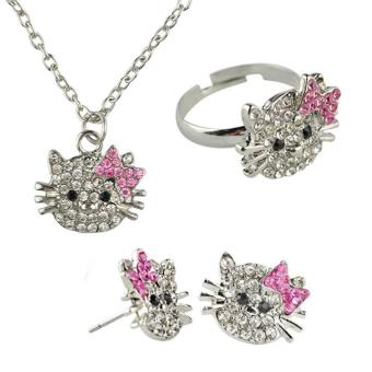 Harga ooplm Silver Kitty Rhinestone Crystal Fashion Jewelry Set With Pink Bow - Ring+Earrings+Necklace 3 In 1 Set