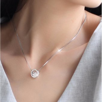 Harga 925 Sterling Silver Jewelry Crystal Box Cube Rhinestones Choker Statement Necklace Women Round Circle Necklaces Pendants - intl