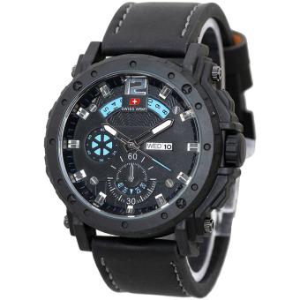 ... Swiss Army Analog SA0687BLB0002 Jam Tangan Pria Leather Strap Hitam List Biru