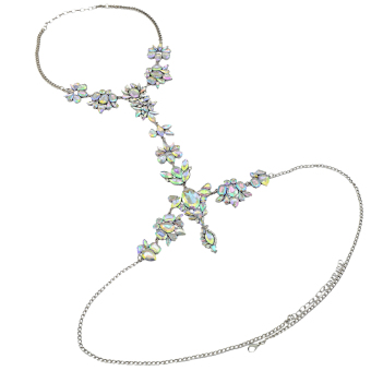 Harga MagiDeal Luxury Crystal Flower Gem Pendant Body Chain Necklace