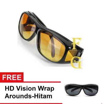 Harga HD Vision Woman Man Outdoor Vision Driving Sunglasses Wrap Around Glasses+Gratis 1 HD Vision