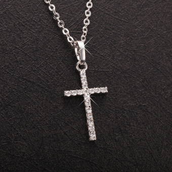 Harga Fashion Luxurious Copper Gold Plated Zircon Rhinestone Crystal Cross Pendant Necklace Chain Jewelry for Women - intl