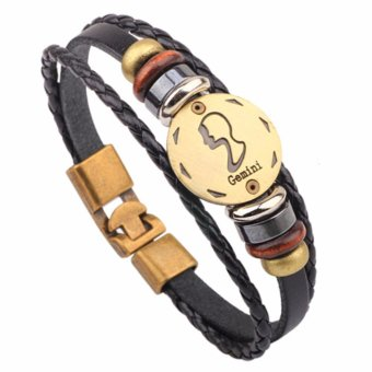 Harga LRC Gelang Tangan Vintage Black Gemini Decorated Multilayer Simple Bracelet