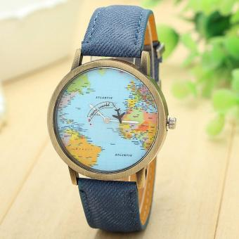 Harga New Global Travel By Plane Map Women Dress Watch Denim Fabric Band -intl