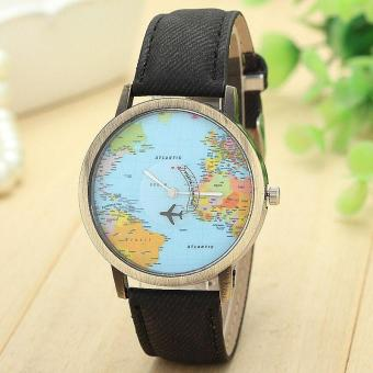 Harga New Global Travel By Plane Map Women Dress Watch Denim Fabric Band Black intl