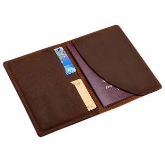 Genuine Leather Passport Holder Wallet, Boshiho Passport Cover Case and Credit Card Organizer Slim Travel Wallet(Brown) - intl