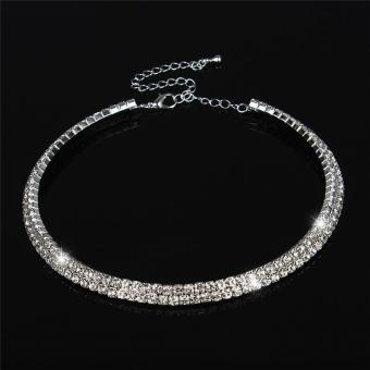 Harga LALANG New Women Crystal Rhinestone Necklace Crew Neck Jewelry 2-rows Crystal
