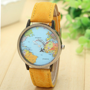 Harga New Global Travel By Plane Map Women Dress Watch Denim Fabric Band Yellow
