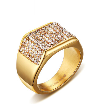Harga Titanium Steel Gold-color Western-style Bling Ring for Men Great for Gifts
