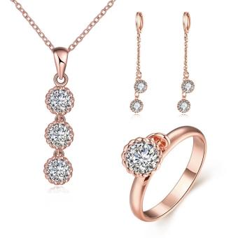 S090 B trendi campuran anti alergi zirkon disambung anting anting kalung cincin Set perhiasan