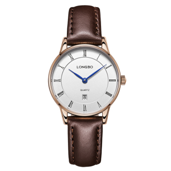 Harga LONGBO Casual Luxury Sport Genuine Leather Straps Quartz Wrist Watch Lovers Watch Calendar Watch