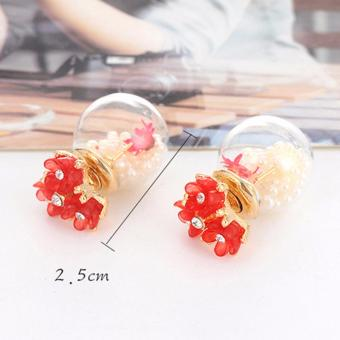 LRC Anting Sweet Silver Color Diamond Decorated Sunflower Shape Source · LRC Anting Fashion Plum Red