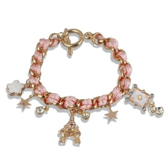 New Chic Eiffel Tower Multi-element Pink Leather Rope Bracelet Chain Charms