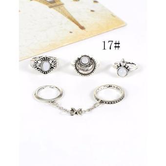 Gambar Produk LRC Cincin (4Pcs) Fashion Silver Color Flower Decorated Pure Color Simple Design