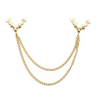 BolehDeals Fashion Deer Head Elk Tips Double Chains Tassels Collar Pins Brooch Gold