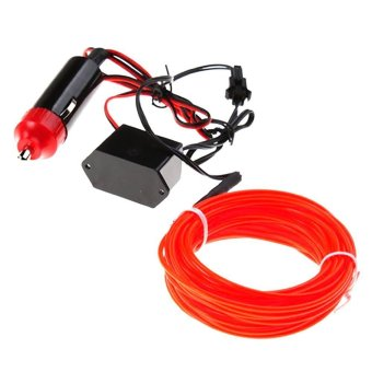 Whyus? store 5M Flexible EL Neon Light Glow Strip Rope Wire Tube+12V Inverter