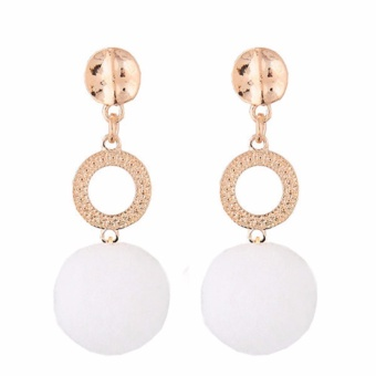 LRC Anting Tusuk Fashion White Fuzzy Ball Pendant Decorated Color Matching Earrings