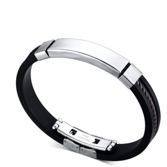 Harga Bracelet For Men Women Black Silicone Bracelets Stainless Steel Spring Clasp Jewelry Simple Design