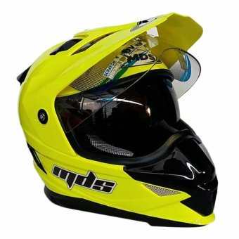 Harga MDS Helm Full Face Motor Cross MDS Super Pro Supermoto Double Visor Yamaha Ninja Honda warna Yellow Fluo - Kuning