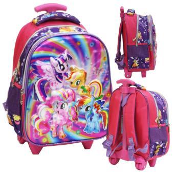 Onlan My Little Pony Cantik 5D Timbul Hologram Tas Trolley Anak Sekolah TK - Purple