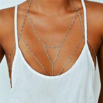 Harga LALANG Sexy Multilayer Body Chain Harness Bikini Beach Necklace Silver