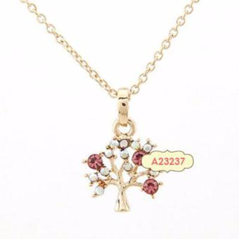 LRC Kalung Cocktail Plum Red Fruit Tree Decorated Pendant Alloy Korean Necklaces ...