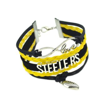 Harga Jiayiqi Steelers Showy Color Leather Bangle Infinite Love Charm Bracelet